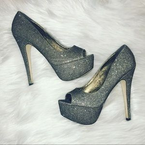 Aldo gold glitter heels